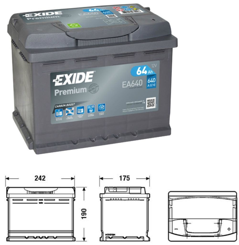 Exide Premium EA640 Carbon Boost
